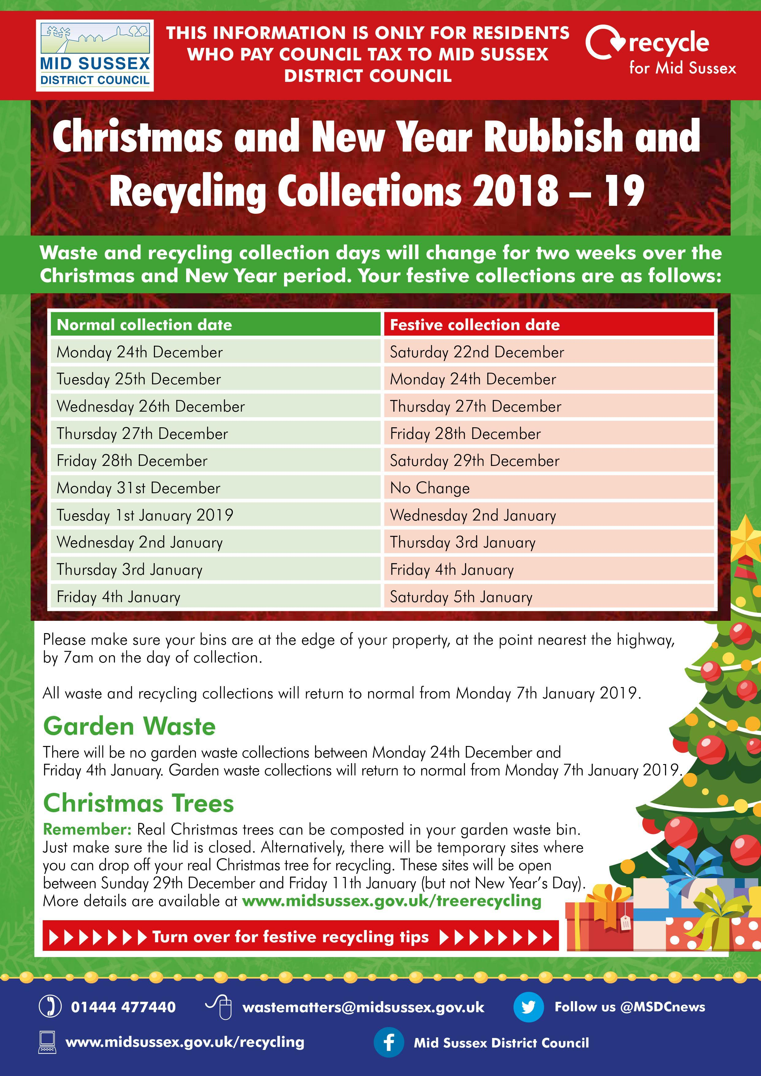 Christmas New Year Rubbish Recycling Collection 2018 19 P1